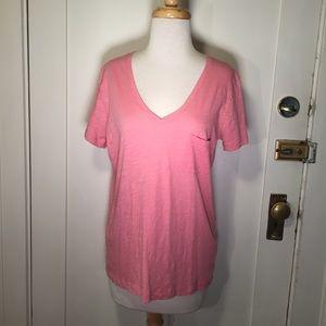 Madewell Pink V-neck shortsleeve tee single pocket